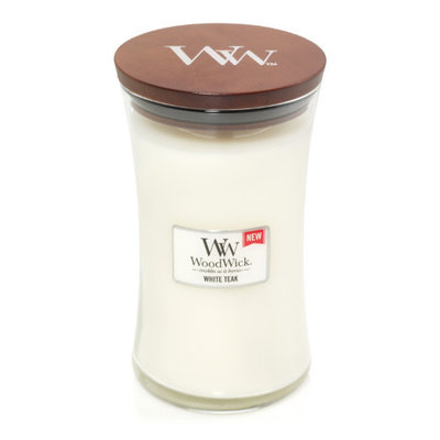 WoodWick White Teak Large Candle